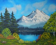 Landscape. Mountain Trees Water Bush Art - Secluded Lake by Aaron Thomas