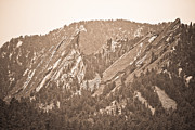 Sepia White Nature Landscapes Framed Prints - Second and Third Flatirons Boulder Colorado Sepia Framed Print by James Bo Insogna