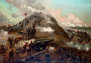 Civil Framed Prints - Second Battle of Fort Fisher Framed Print by American School
