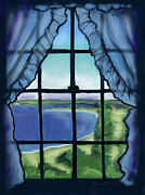 New England Ocean Drawings Prints - Second Floor Window Black Point Inn Print by Jean Pacheco Ravinski