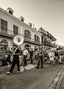 French Quarter Digital Art Framed Prints - Second Line monochrome Framed Print by Steve Harrington