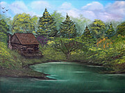 Cabin Paintings - Secret Fishing Hole by Stephen Helton