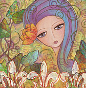 Little Girls Mixed Media Prints - Secret Garden Print by Joann Loftus