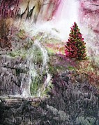 Fantasy Tree Mixed Media - Secret Hideaway with Waterfall by Susanne McGinnis
