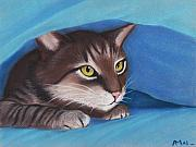 Cat Poster Pastels Framed Prints - Secret Hideout Framed Print by Anastasiya Malakhova