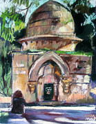 Jerusalem Painting Metal Prints - Secret Jerusalem Temple Metal Print by Linda Novick