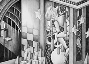 Different Dimension Drawings - Secret of a clock tower by T Koni
