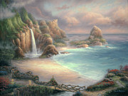 Waterfall Painting Posters - Secret Place Poster by Chuck Pinson