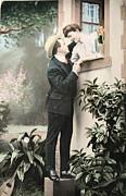 Patricia Hofmeester - Secret romance. Vintage postcard 1907