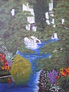 Waterfalls Paintings - Secret Swimming Spot by Tami Farina