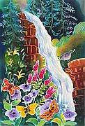 Colorado Mountain Stream Paintings - Secret Waterfall by Harriet Peck Taylor