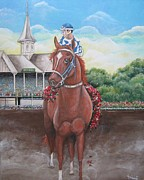 Secretariat Paintings - Secretariat at Churchill Downs by Patrice Torrillo