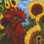Sunflower Art Posters - Secrets Of The Garden ROOSTER Poster by Debbie McCulley
