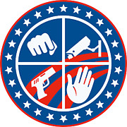 Punching Posters - Security CCTV Camera Gun Fist Hand Circle Poster by Aloysius Patrimonio