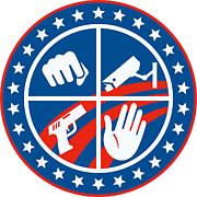 Security Cctv Camera Gun Fist Hand Circle Print by Aloysius Patrimonio