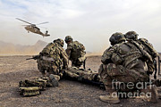 Uh-60 Black Hawk Prints - Security Force Team Members Wait Print by Stocktrek Images