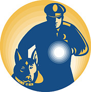 Flashlight Framed Prints - Security Guard Policeman Police Dog Framed Print by Aloysius Patrimonio