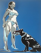 Doberman Paintings - Security In Blue by Leon Keay