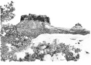 Sedona Drawings Prints - Sedona 1 Print by David Doucot