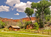 Sedona Arizona Barn And Waterwheel Print by Gregory Dyer