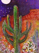Anne-elizabeth Whiteway Prints - Sedona Arizona Cacti at Night Print by Anne-Elizabeth Whiteway
