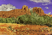 Oak Park Posters - Sedona Arizona Cathedral Rocks Oak Creek Crossing Poster by Nadine and Bob Johnston
