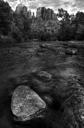 Oak Creek Posters - Sedona Cathedral Rock Black and White Poster by Dave Dilli