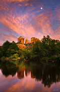 Oak Creek Photo Posters - Sedona Moonrise Poster by Adam Schallau