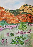Desert Drawings Prints - Sedona Mountain with Pears and Clover Print by Marcia Weller-Wenbert