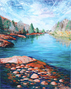 Palette Knife And Brush Posters - Sedona Serenity Poster by Jackie Cleveland