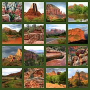 Red Rocks Framed Prints - Sedona Spring Collage Framed Print by Carol Groenen
