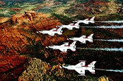Planes Framed Prints - Sedona Thunderbirds Framed Print by Benjamin Yeager
