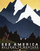 United States Travel Bureau Prints - See America - Montana Mountains Print by Nomad Art And  Design