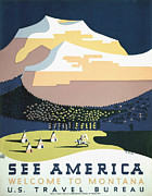 United States Travel Bureau Prints - See America - Montana Print by Nomad Art And  Design