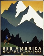 Western Western Art Prints - See America Welcome to Montana Print by M Weitzman