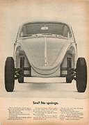 Vw Beetle Framed Prints - See... No Springs Framed Print by Nomad Art And  Design