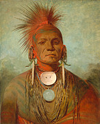 Native American Painting Metal Prints - See non ty a an Iowa Medicine Man Metal Print by George Catlin