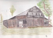 Old Barns Drawings Metal Prints - See Rock City Metal Print by Christa Cruikshank