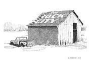 Barn Pen And Ink Drawings Prints - See Rock City Print by Paul Shafranski