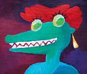 Smile Painting Framed Prints - See you later alligator Framed Print by Lutz Baar