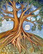 Tree Roots Paintings - Seed Moon Rising by Cedar Lee