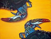 Blue Crab Framed Prints - Seeing Double Framed Print by JoAnn Wheeler