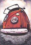 Volkswagen Pastels Prints - Seeing Red Print by Art Haus Ink