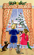 Curtains Framed Prints - Seeing the Snow Framed Print by Lavinia Hamer