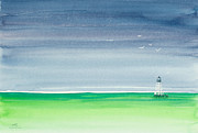 Storm Clouds Painting Originals - Seeking Refuge Before the Storm Alligator Reef Lighthouse by Michelle Wiarda