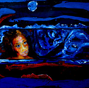 Hallucination Painting Prints - Seeking Sleep Trilogy Print by Kathleen Peltomaa Lewis