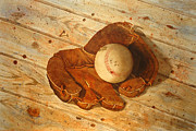 Baseball Glove Painting Metal Prints - Seen Better Days Metal Print by Sandra Stone