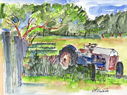 Texas Longhorn Posters - Seen The Best Days Tractor Painting Poster by Kathleen McElwaine