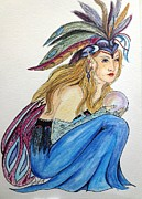 Mardi Gras Drawings - Seer by Lorah Buchanan