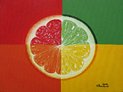 Grapefruit Painting Prints - Segmented Print by Kayleigh Semeniuk